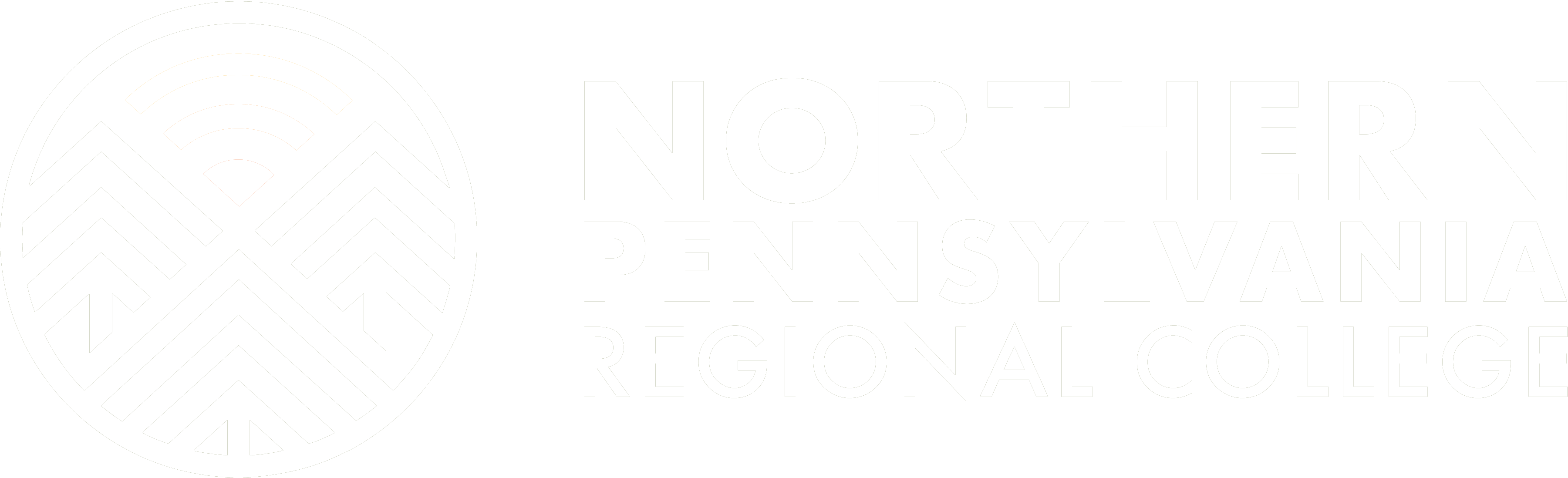 Northern Pennsylvania Regional College White Logo